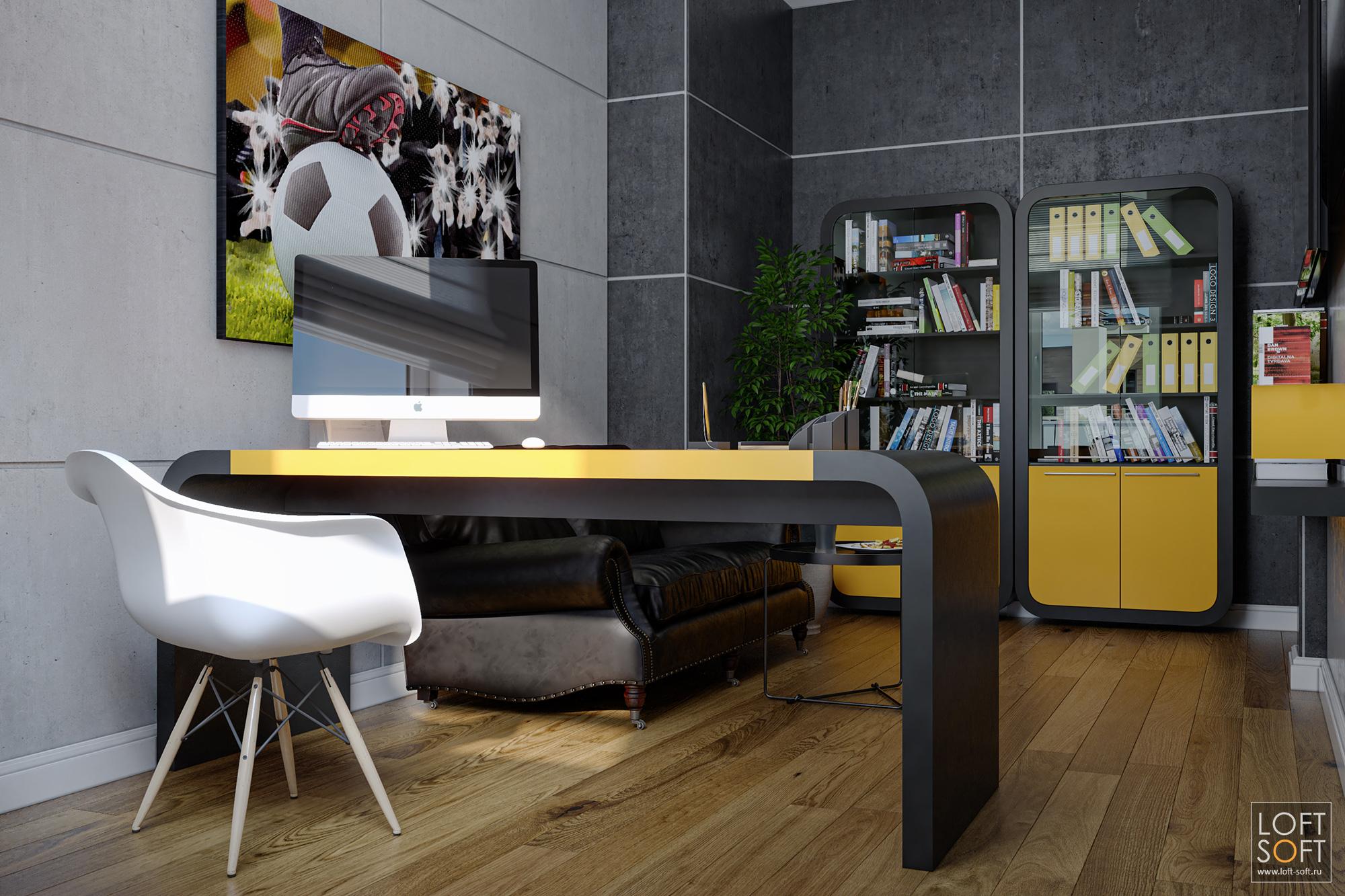 Современная мебель для кабинета. Рабочее место вчерно-оранжевых цветах.