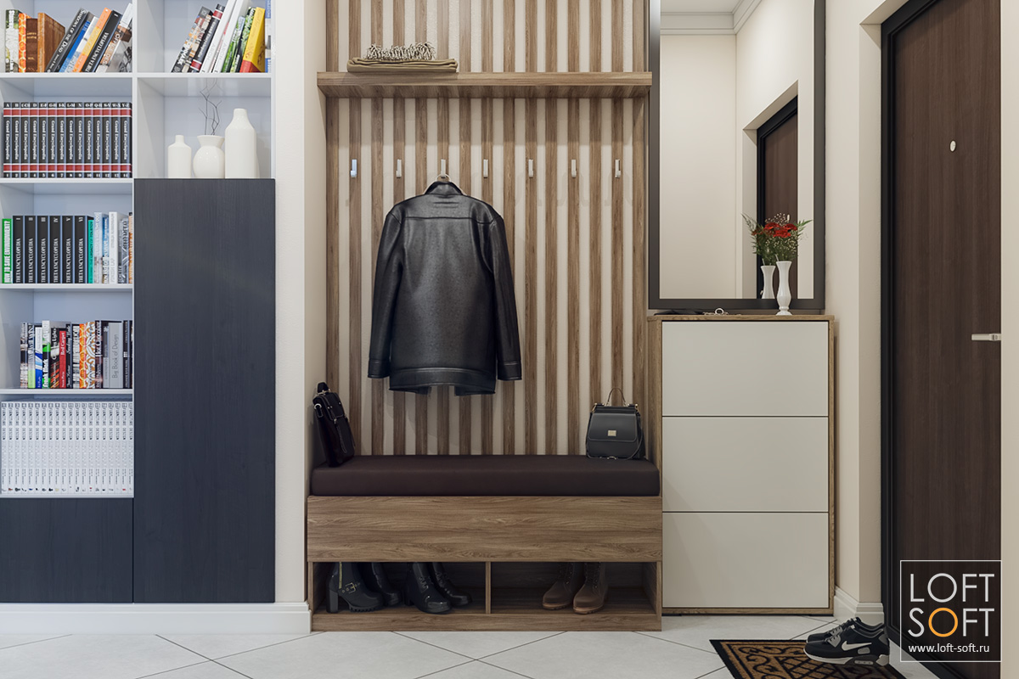 современный интерьер, прихожая всовременном стиле, отделка стен баффелями, loft soft