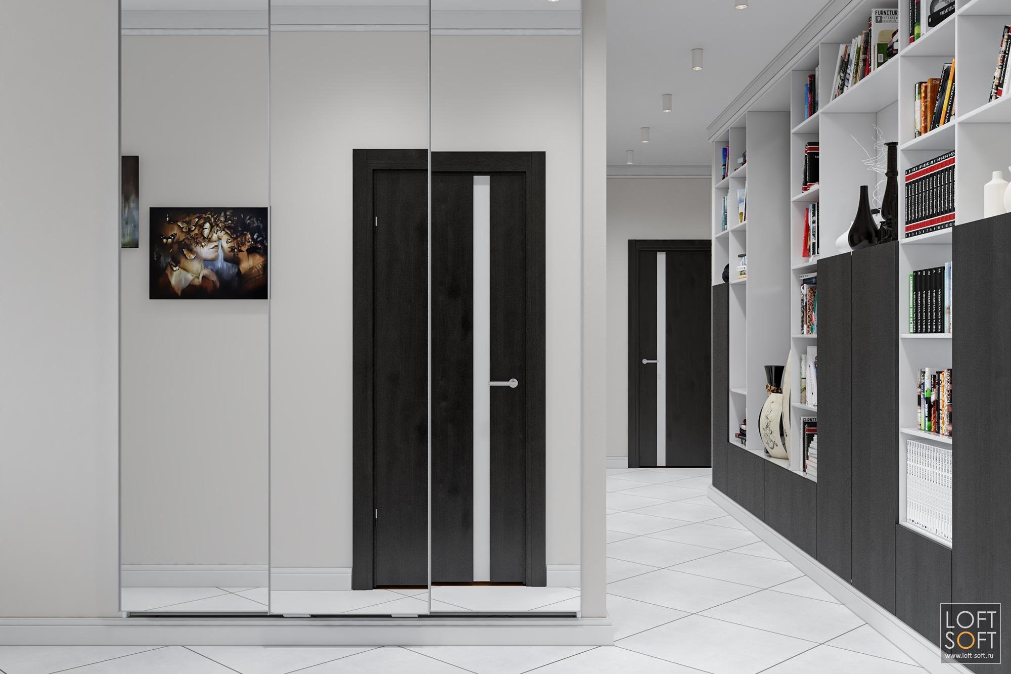 Коридор всовременном интерьере, белая блитка наполу, стеллаж вкоридоре, loft soft