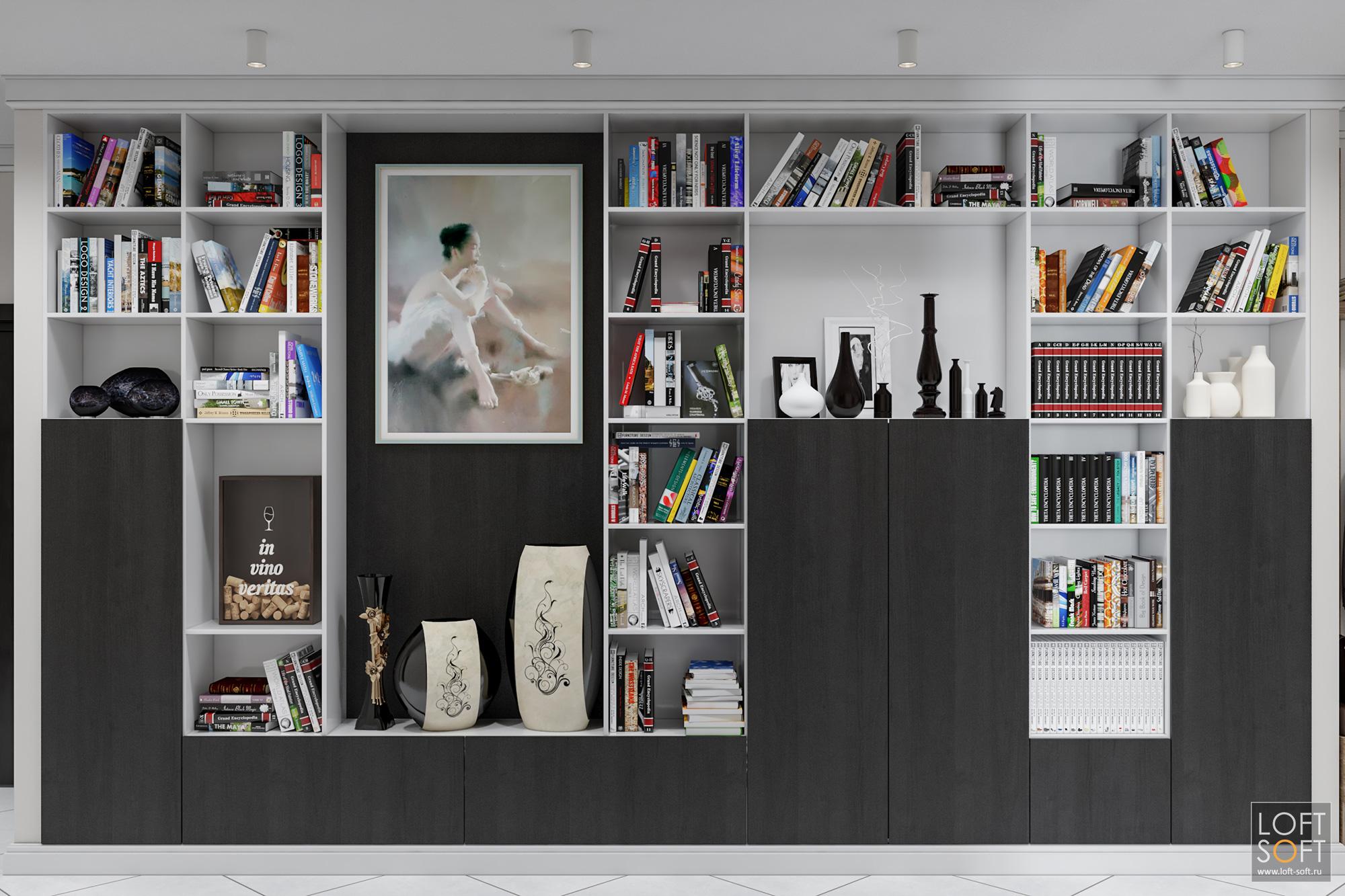 Стеллаж вкоридоре, необычное решение, loft soft