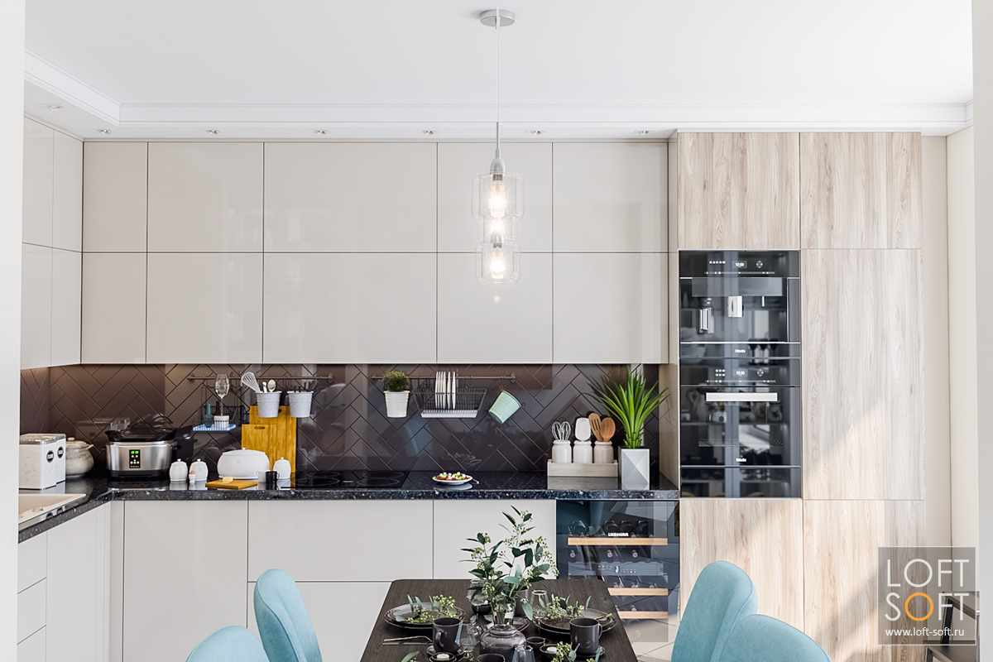 Современная кухня, светлые фасады, коричневый фартук