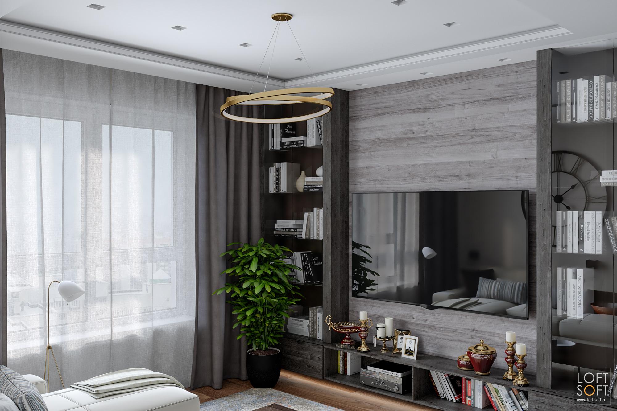 Современный интерьер гостиной, стеллаж из дерева, витрина винтерьере