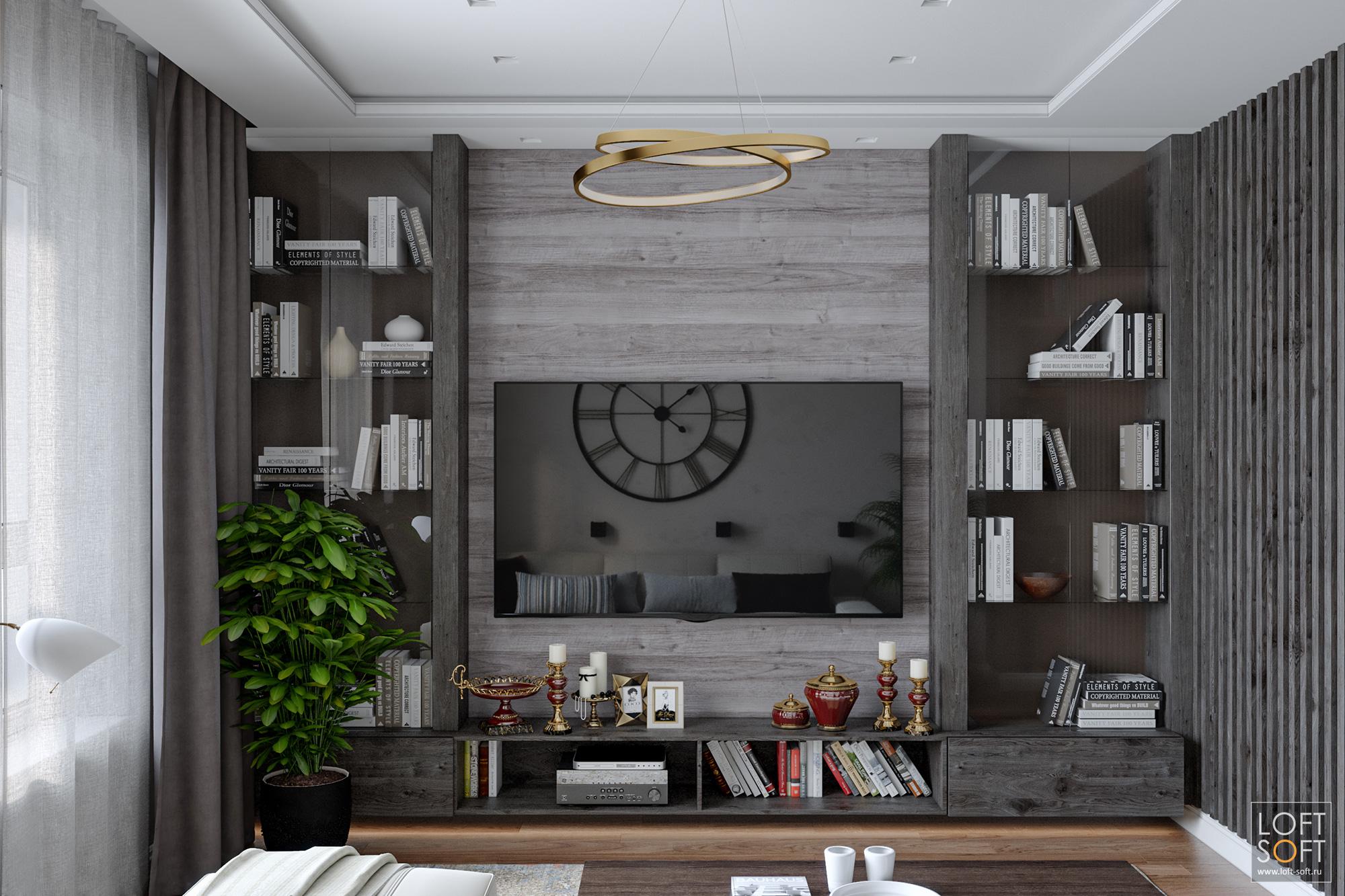 Шпонированные обои всовременном интерьере гостиной, витрины винтерьере