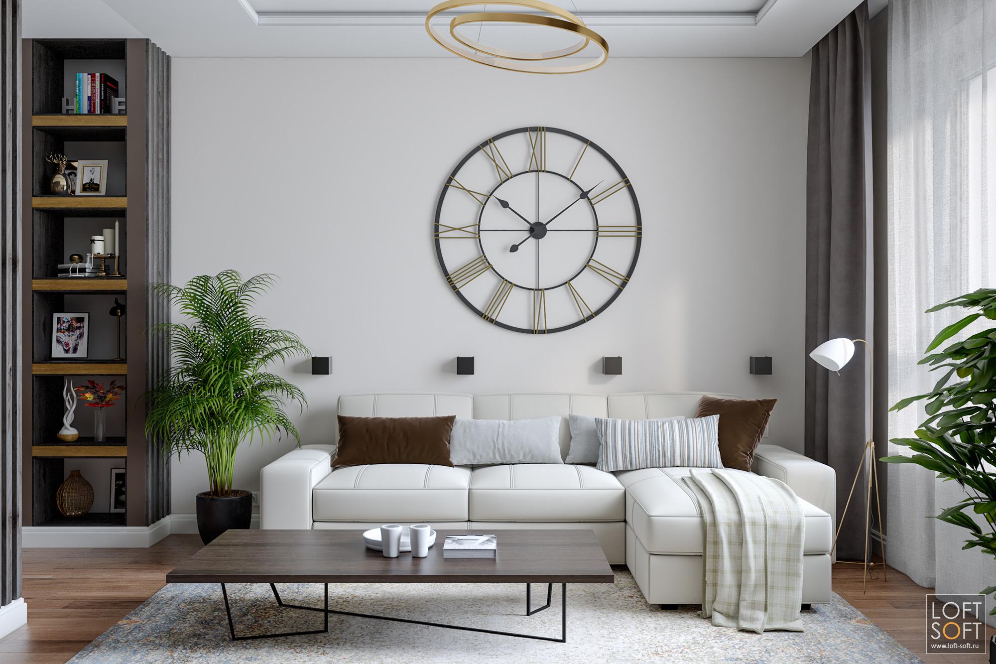 Гостиная всовременном стиле, оформление гостиной, светлые стены