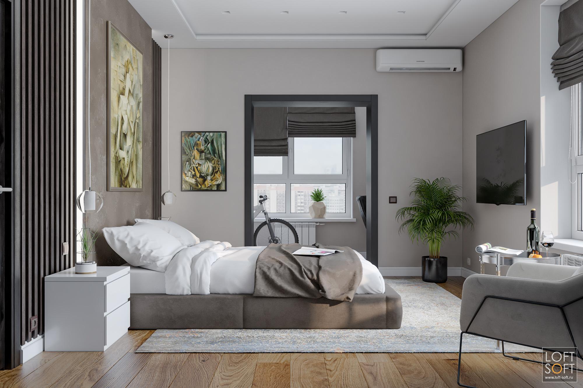 Спальня всовременном стиле, коричневая спальня, декоративная штукатурка
