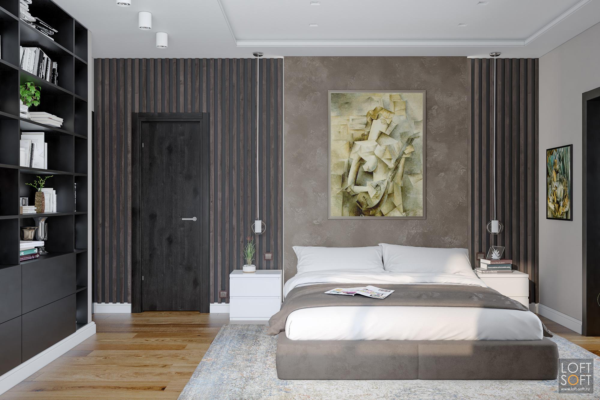 Оформление спальни рейками идекоративной штукатуркой
