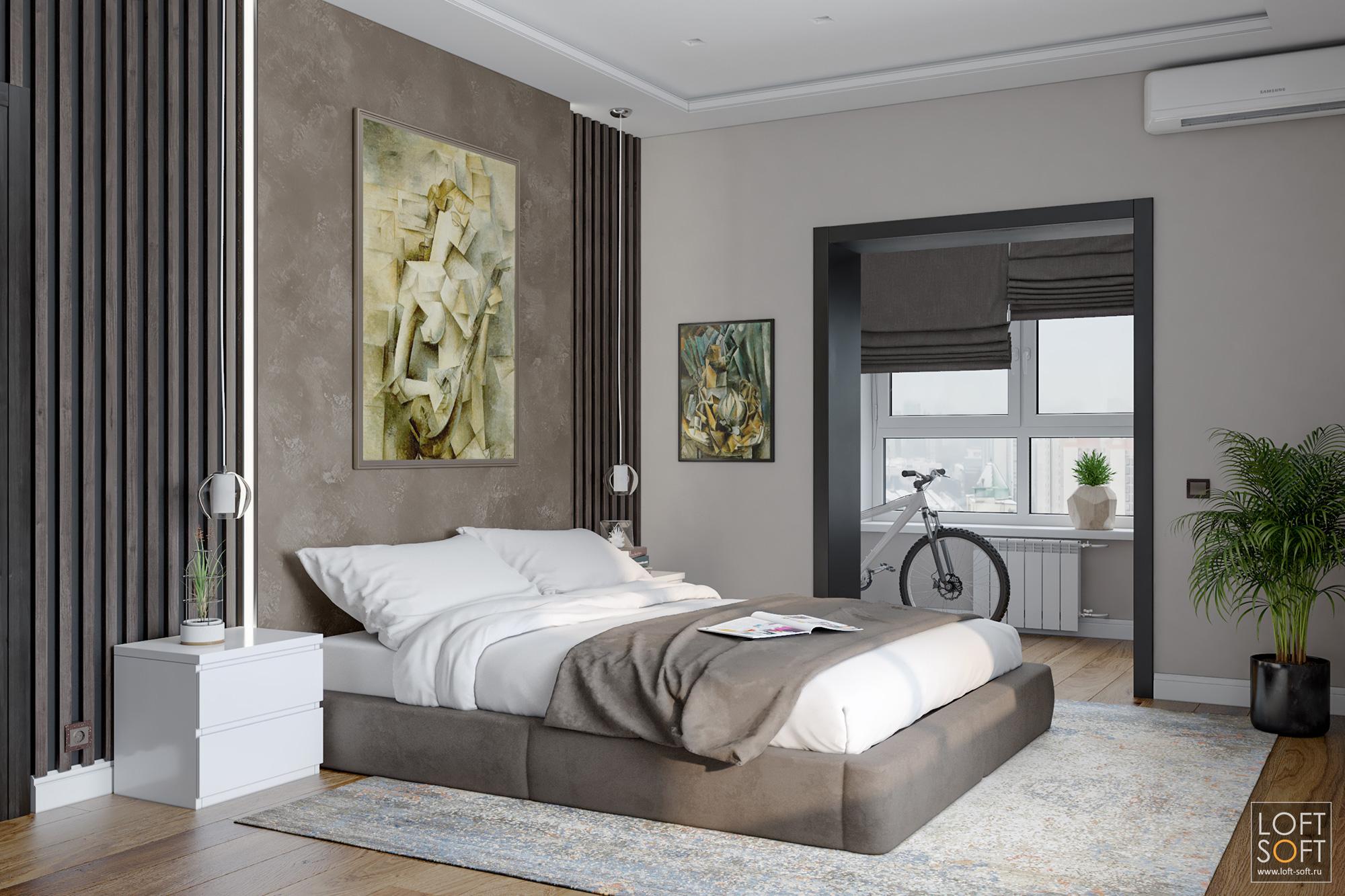 современный интерьер, баффели вотделке, коричневая спальня, loft soft