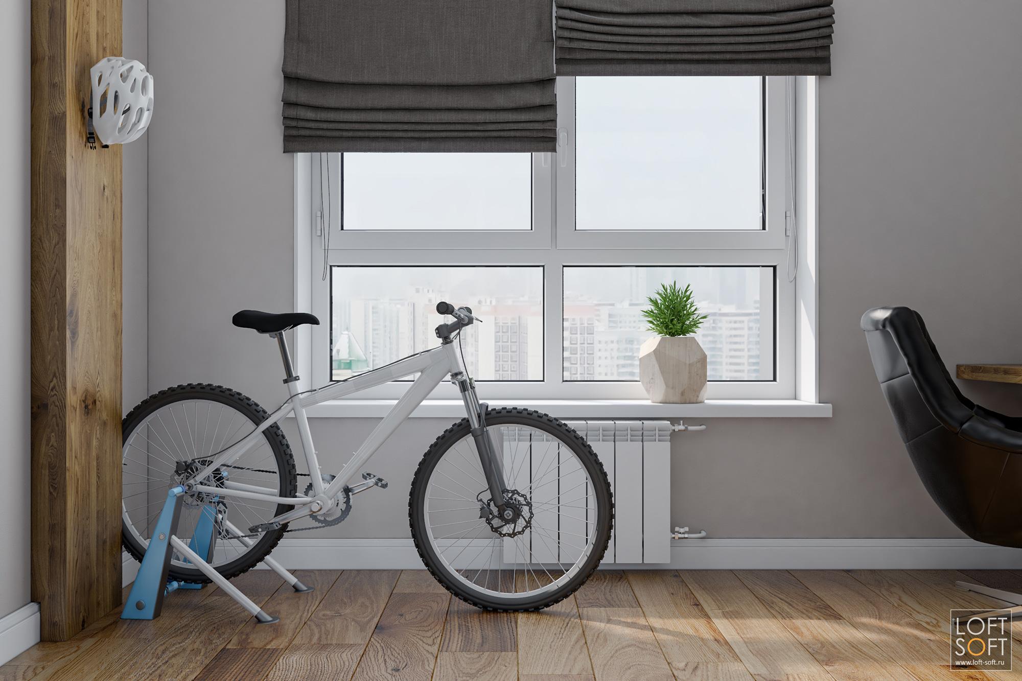 Кабинет вспальне, небольшой кабинет, велотренажёр