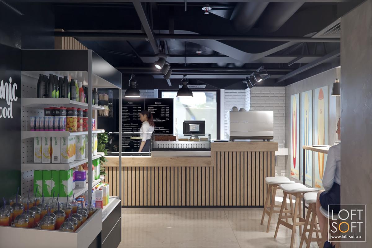 Дизайн маленького кафе. Черные потолки винтерьере.