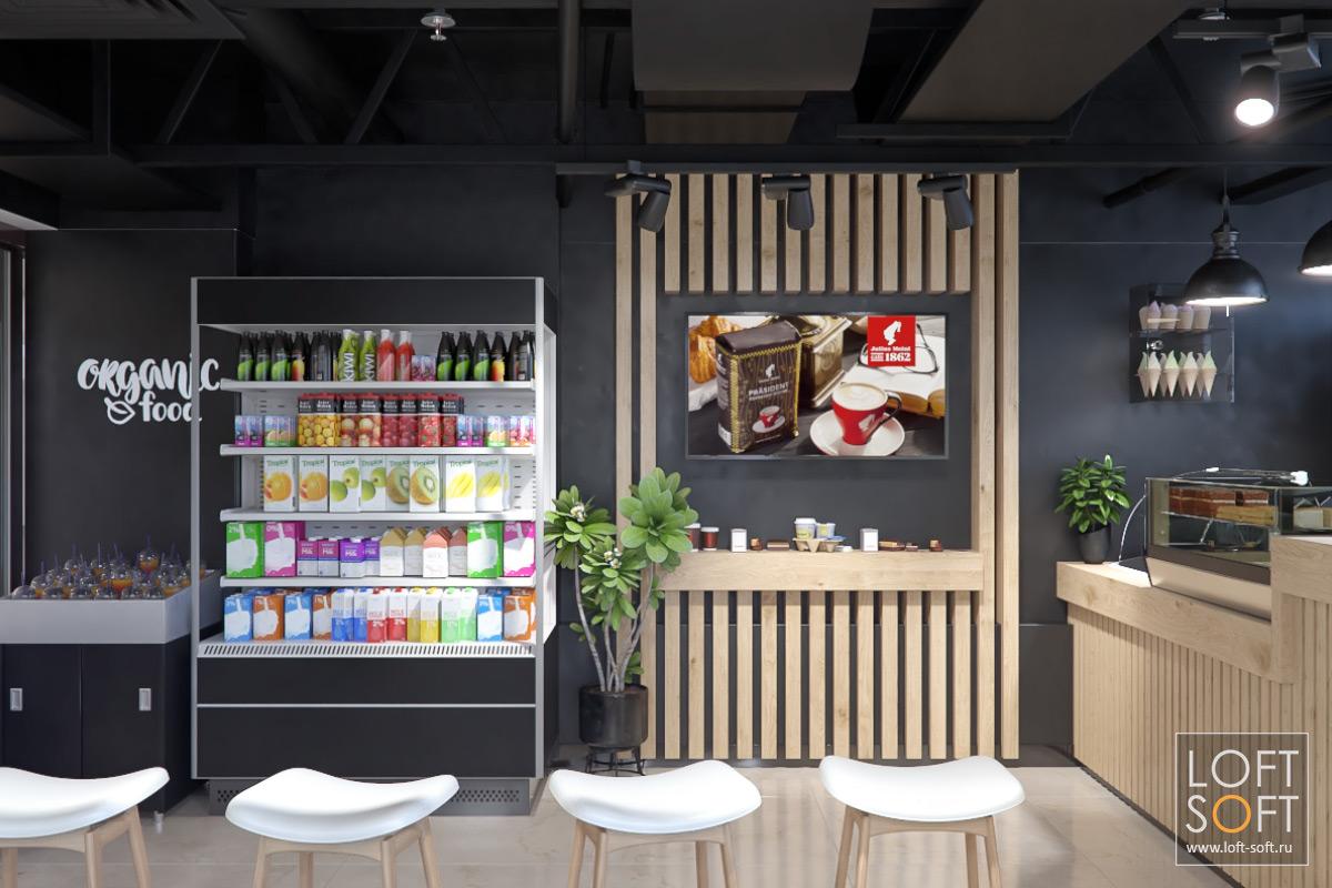 Черный интерьер. Дизайн маленького ресторана.