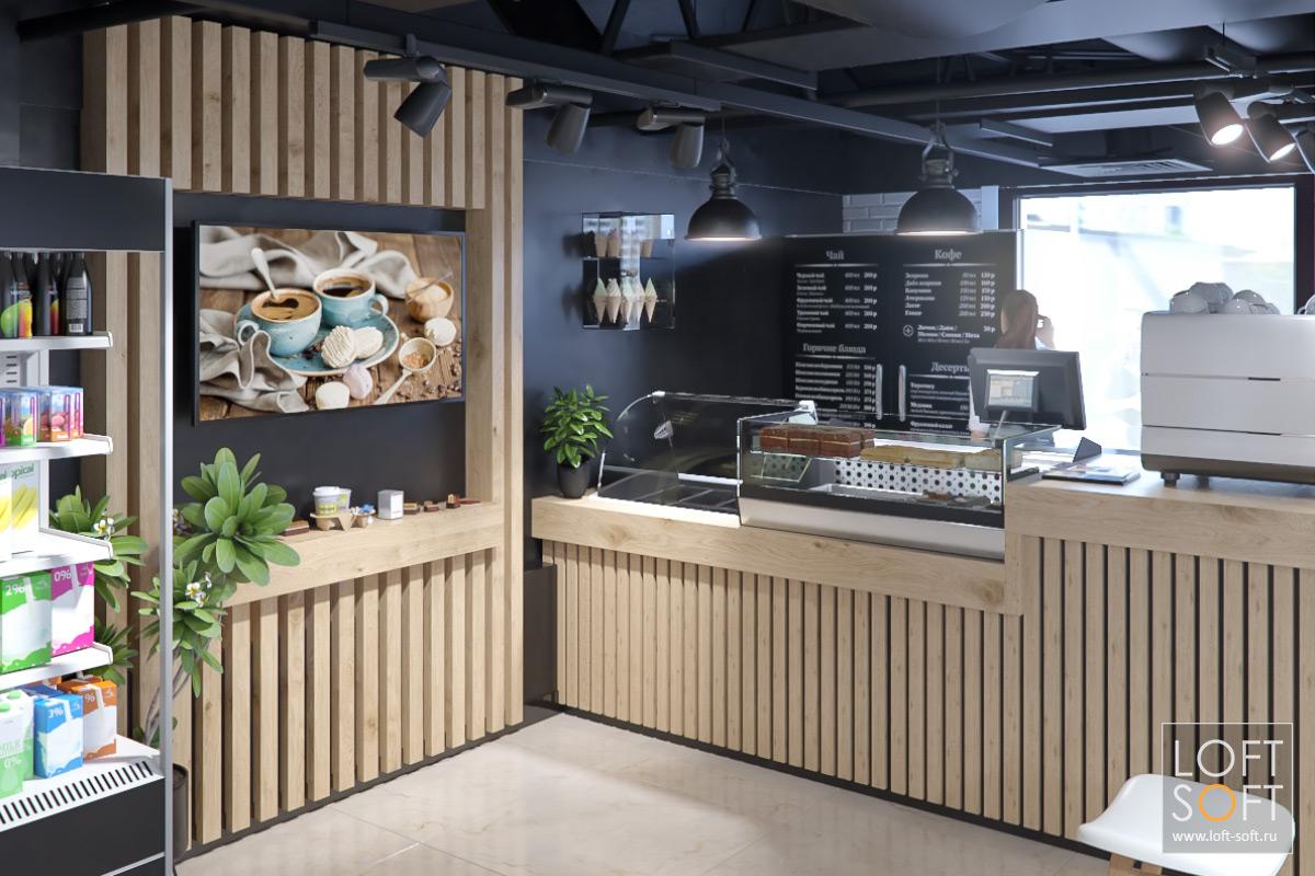 Темный интерьер кафе. Рейка вотделке. Дизайн-проект кафе.