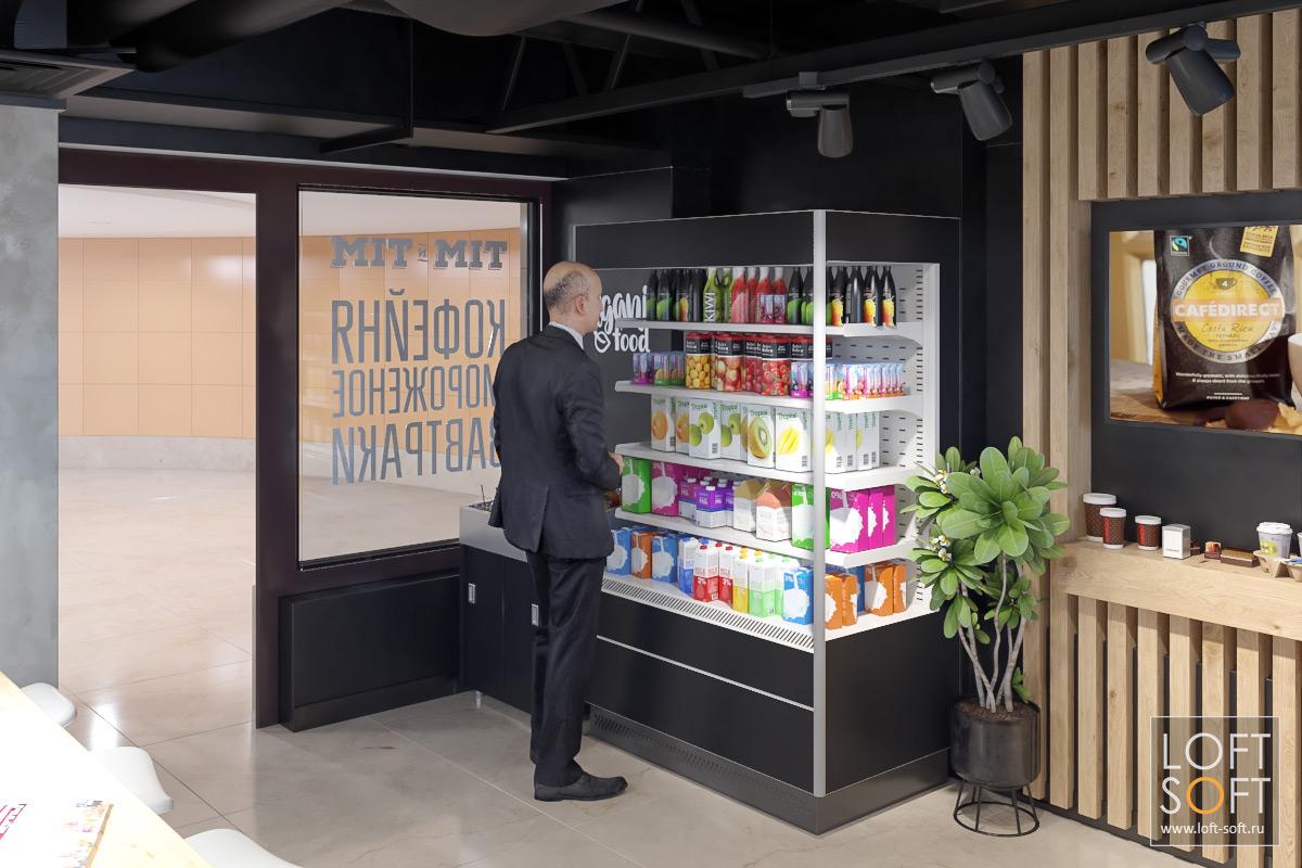 Напольные витрины для соков винтерьере кафе. Темный дизайн кофейни - это здорово!