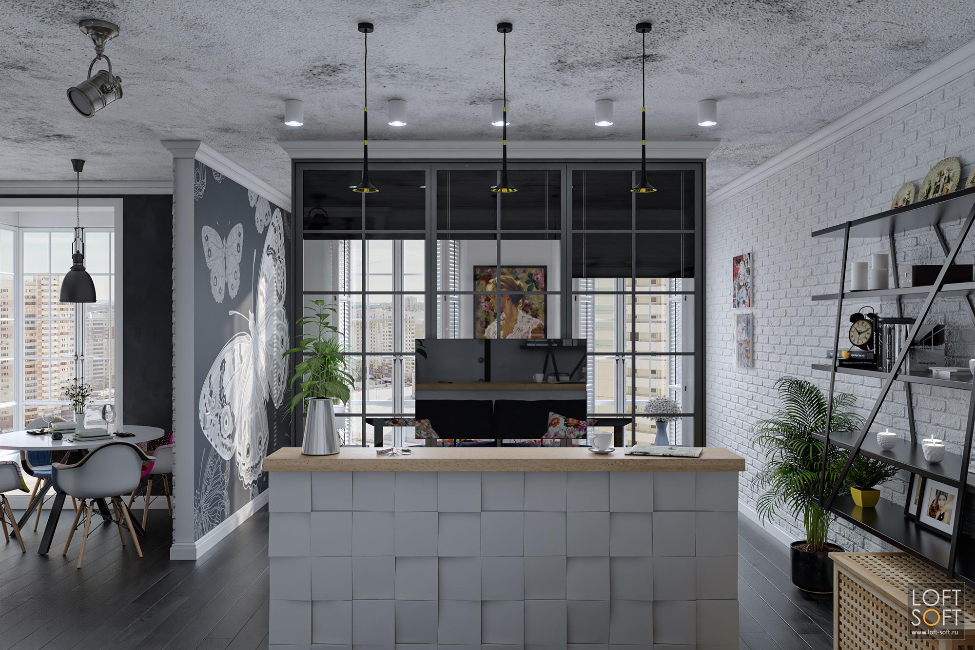 Лофт минимализм хорошо представляется потолком без отделки ибелым клинкером.