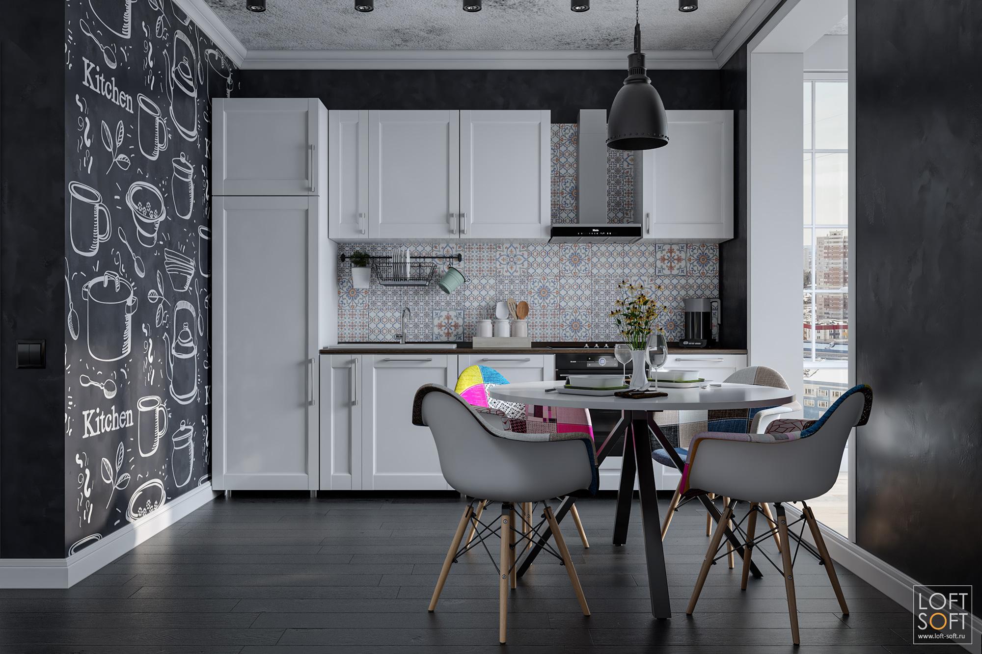 Стулья Eames винтерьере кухни ипачворк вотделке.