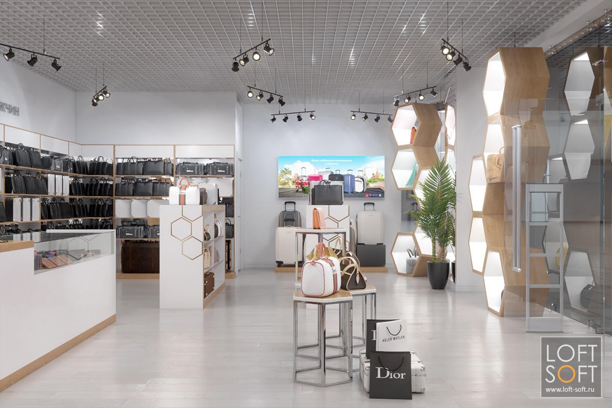 Дизайн магазина сумок иаксессуаров, разработка мебели ивнешнего вида