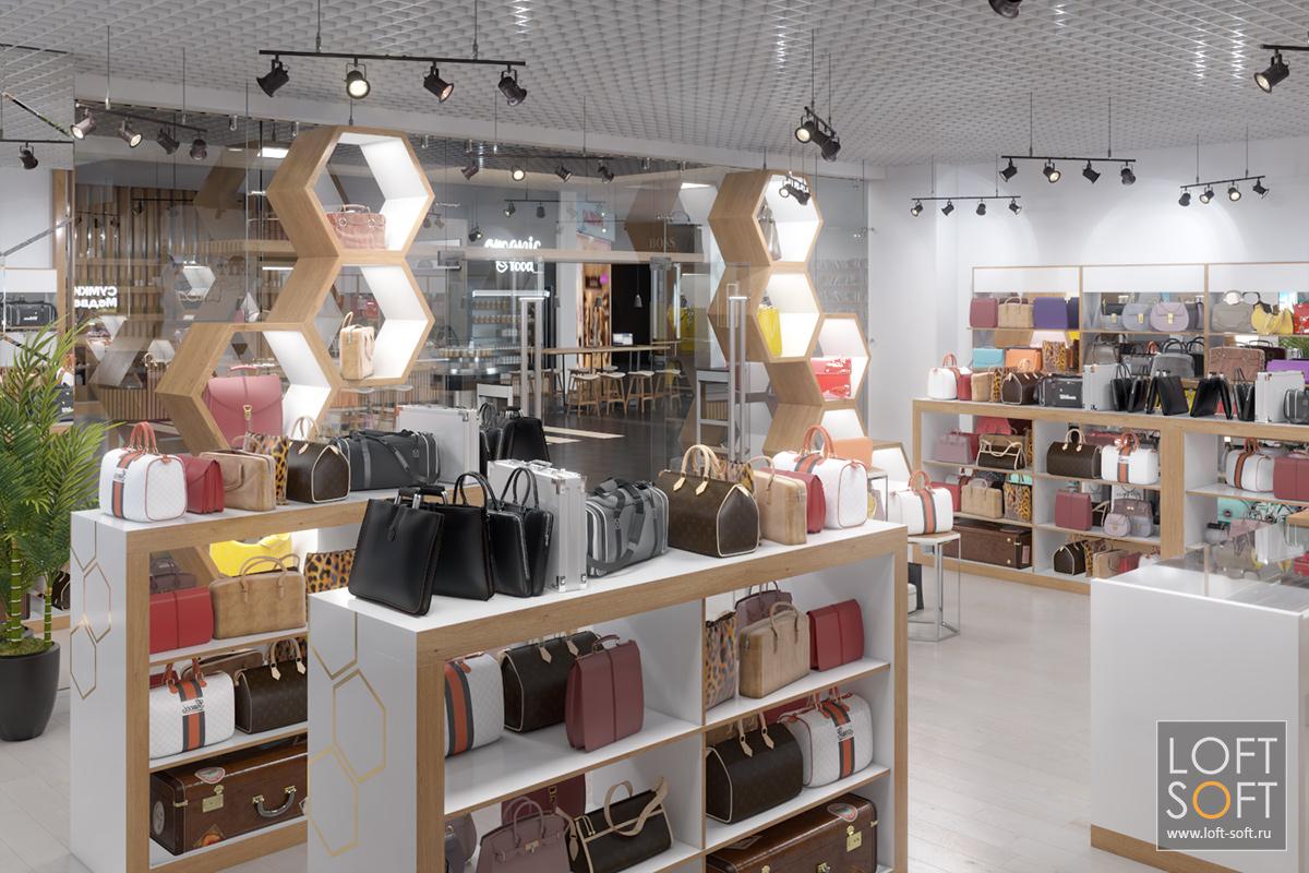 Разарбтка торгового оборудования, дизайн магазина сумок иаксессуаров