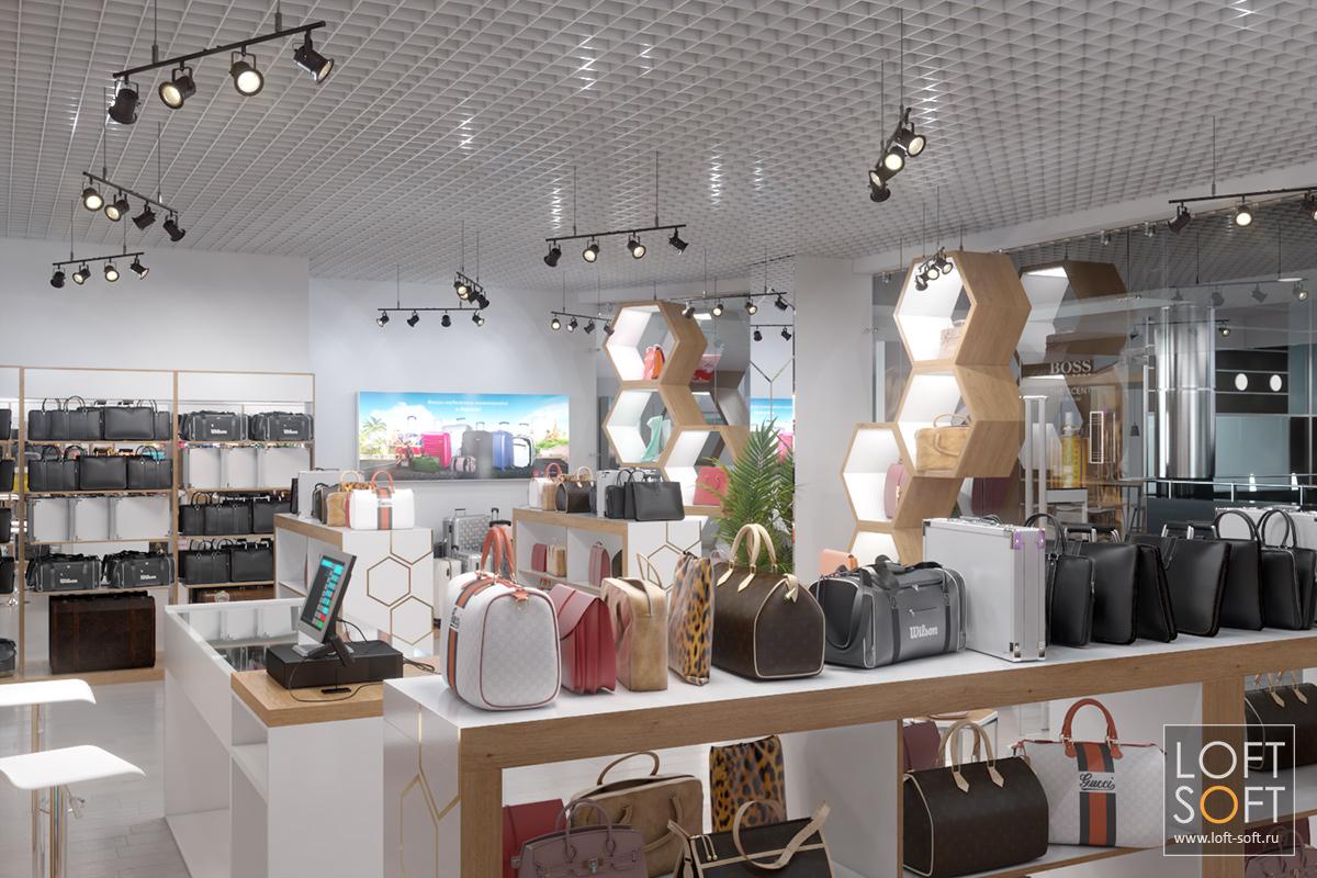 Дизайн магазина сумок иаксессуаров, разработка торгового оборудования