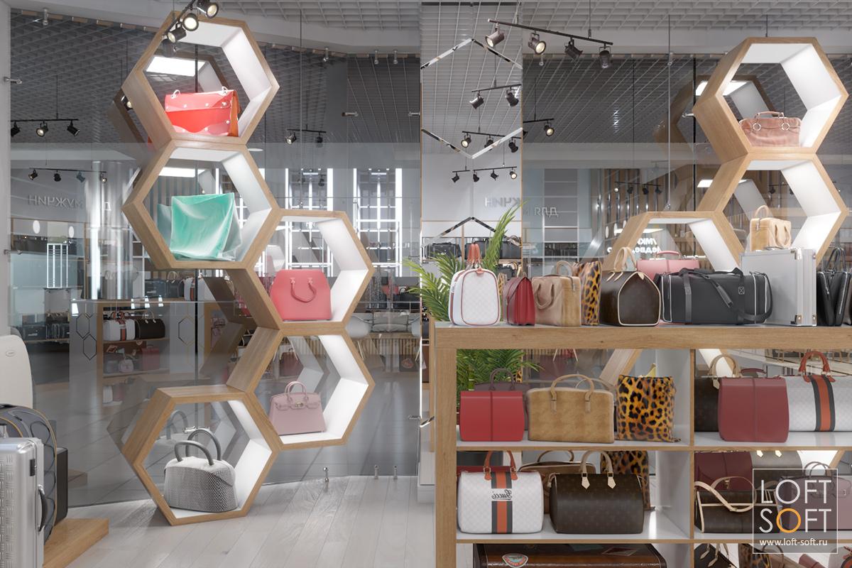 Дизайн магазина сумок иаксессуаров вторговом центре