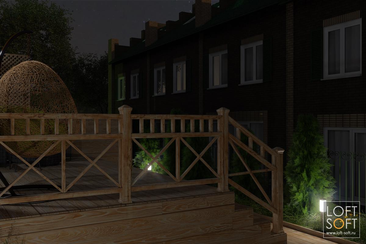 Дизайн придомовой территории таунхауса, ночная визуализация