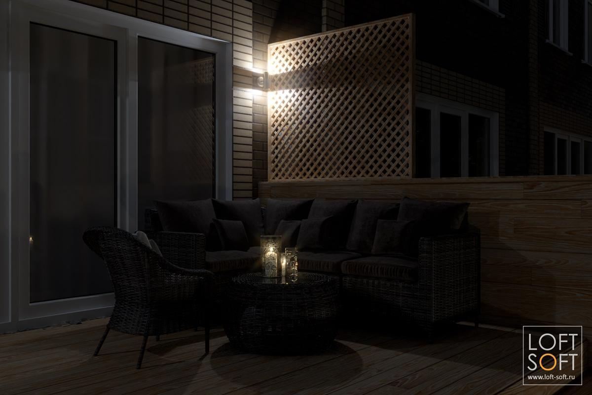 Дизайн придомовой территории таунхауса, ночная визуализация, свеча настолике, романтика