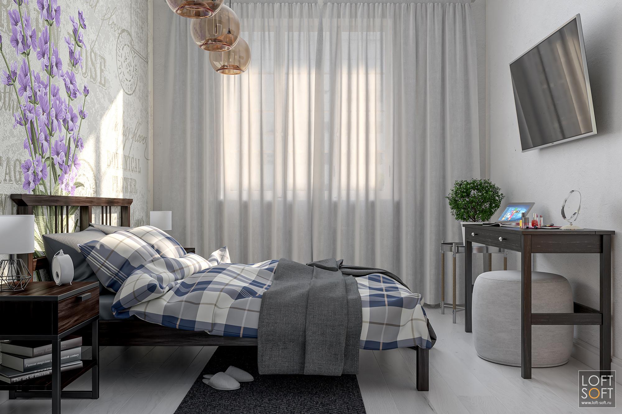 Спальня прованс. Необработанная белая стена.