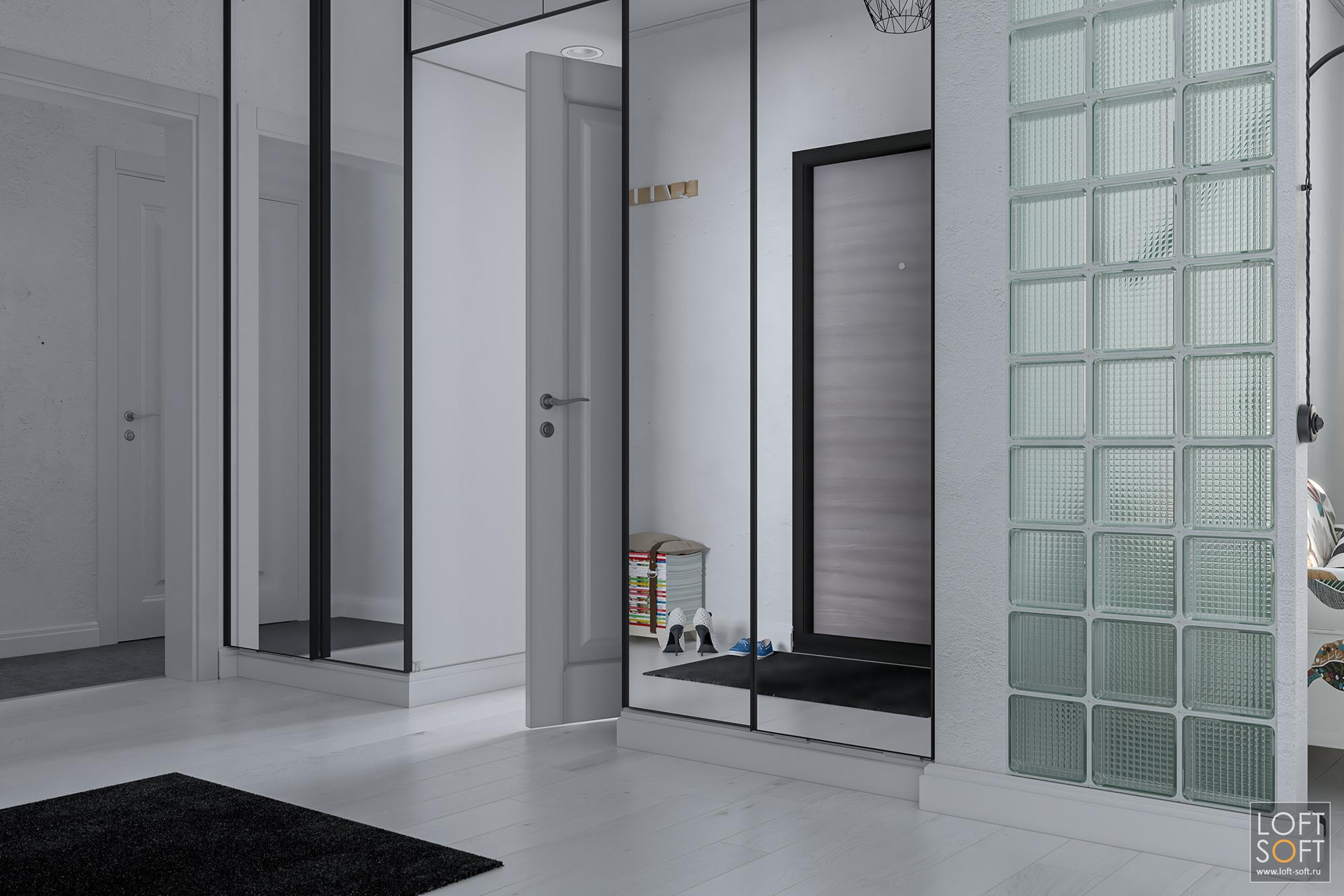 Зеркальный шкаф вкоридоре.