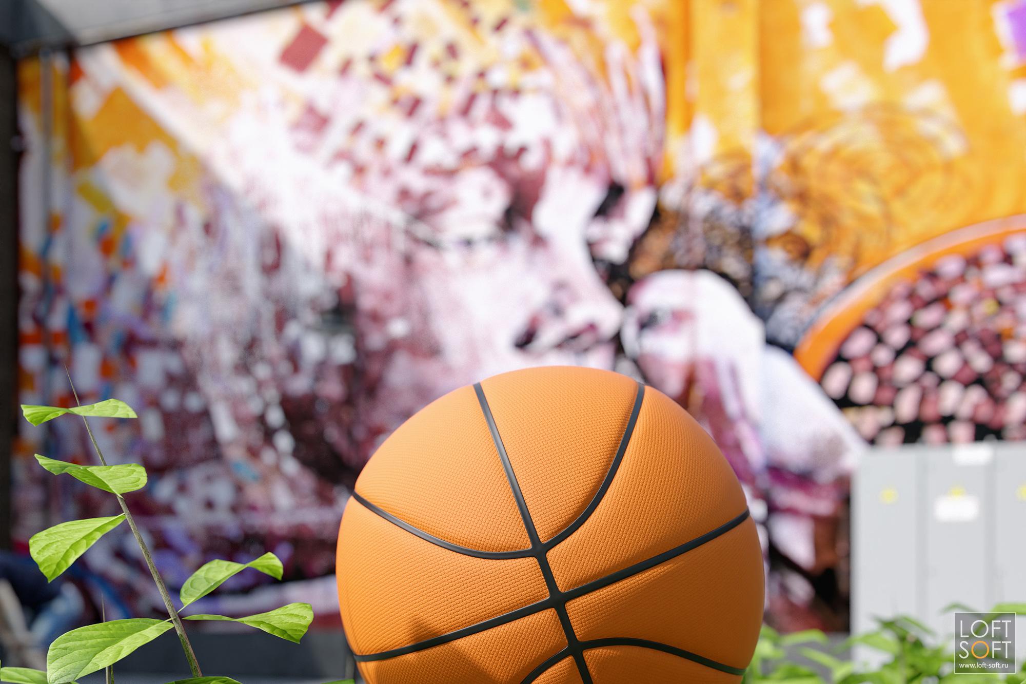 Баскетбольный мяч у спортивной площадки лофт-квартала