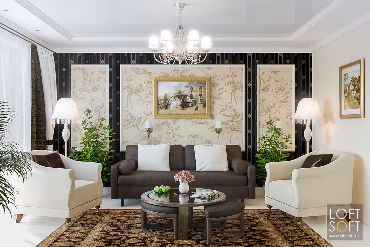 Акцентная стена вгостиной. Современная классика напримере квартиры.