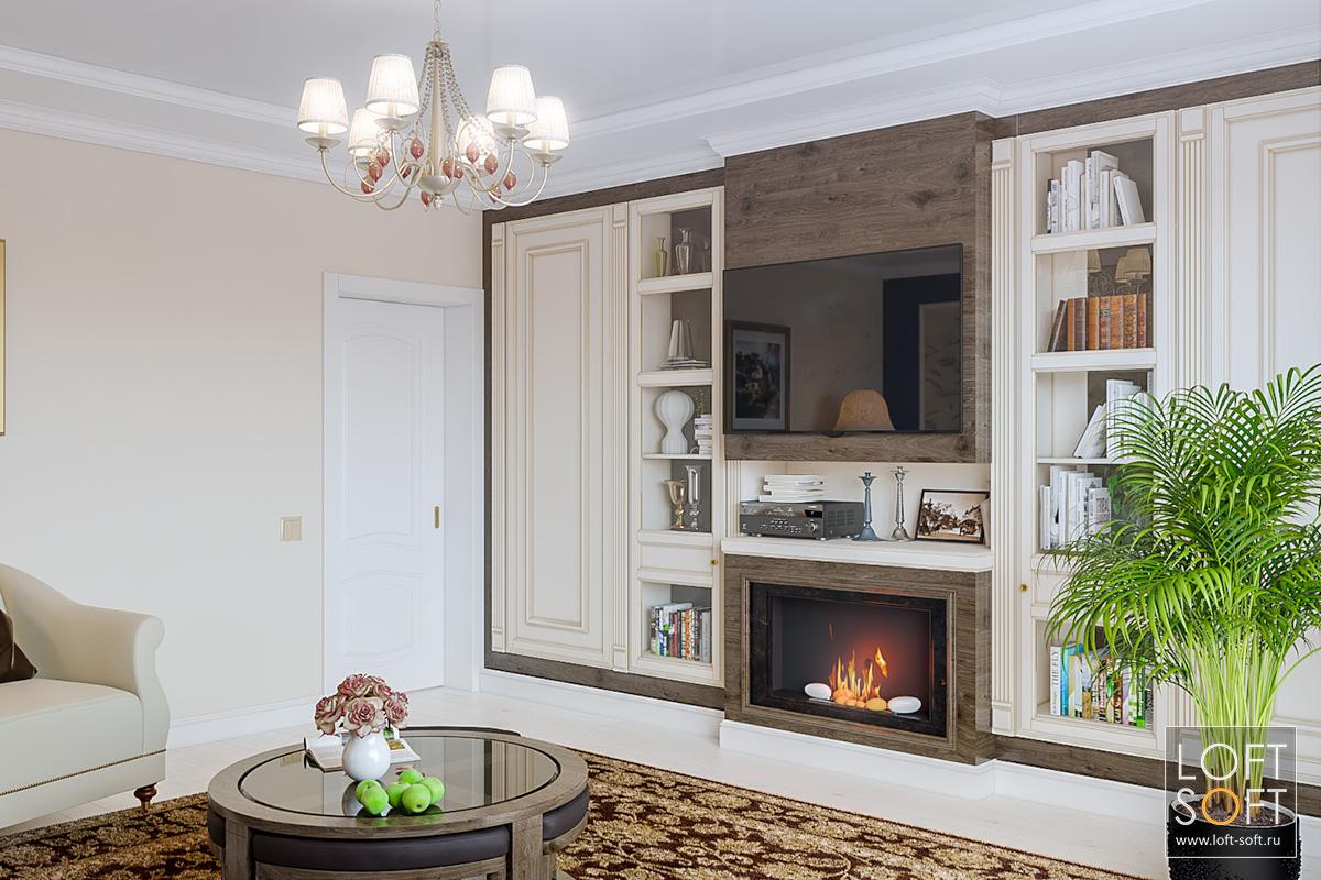 Встроенная мебель для классического интерьера.