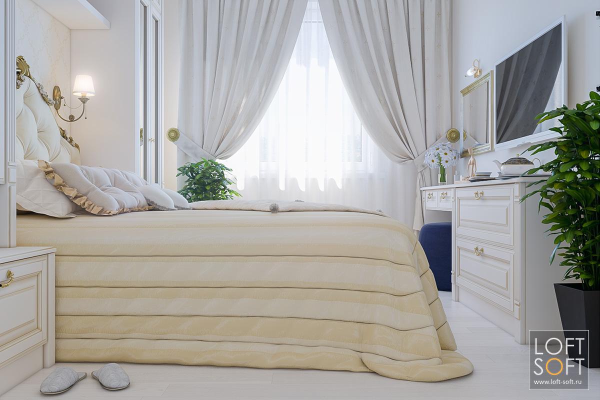 Небольшая спальня вклассическом стиле.
