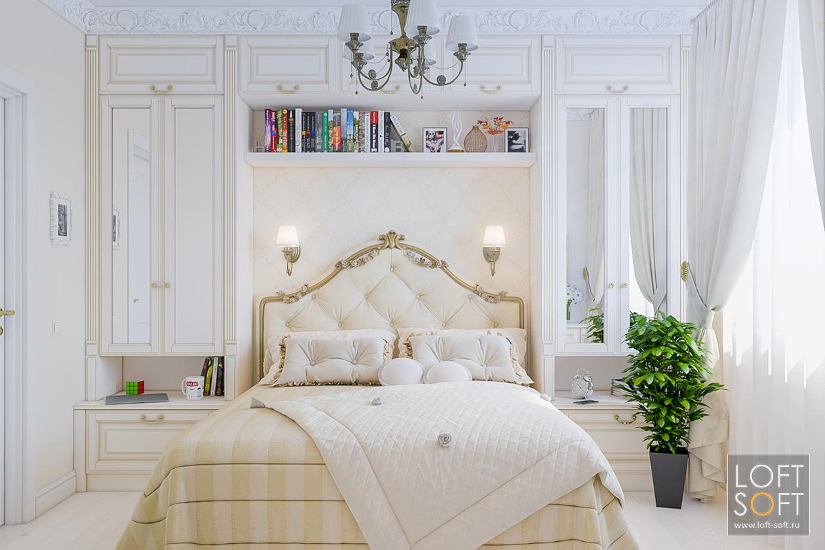 Классическая спальня сбежевыми стенами.