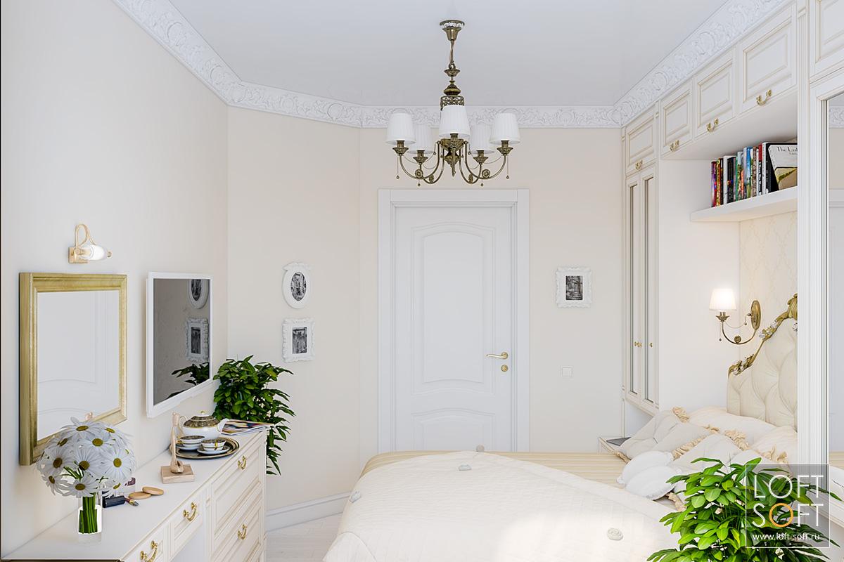 Светлая небольшая спальня.