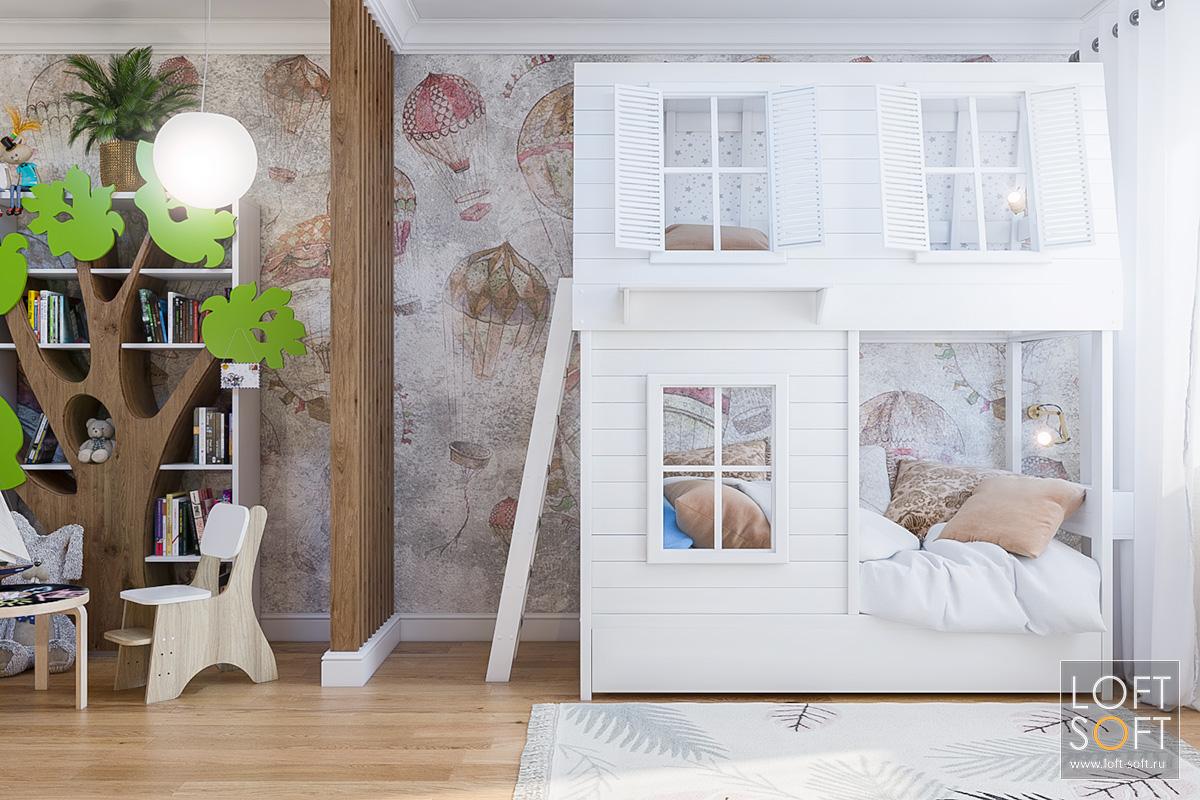 Реечная перегородка вдетской комнате. Двухэтажная кровать-дом.