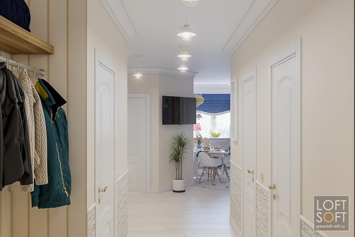 Коридор квартиры вклассическом стиле.