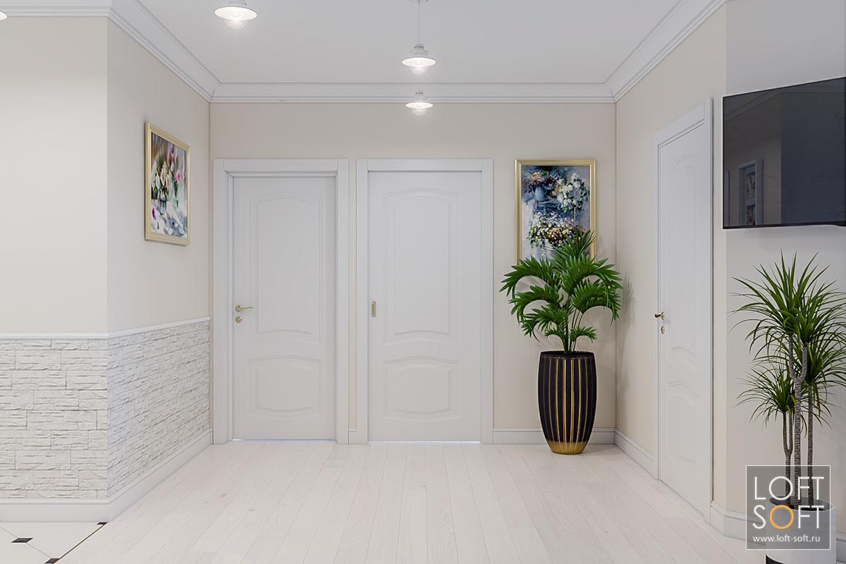 Холл квартиры встиле современная классика. Бежевые стены изелень.