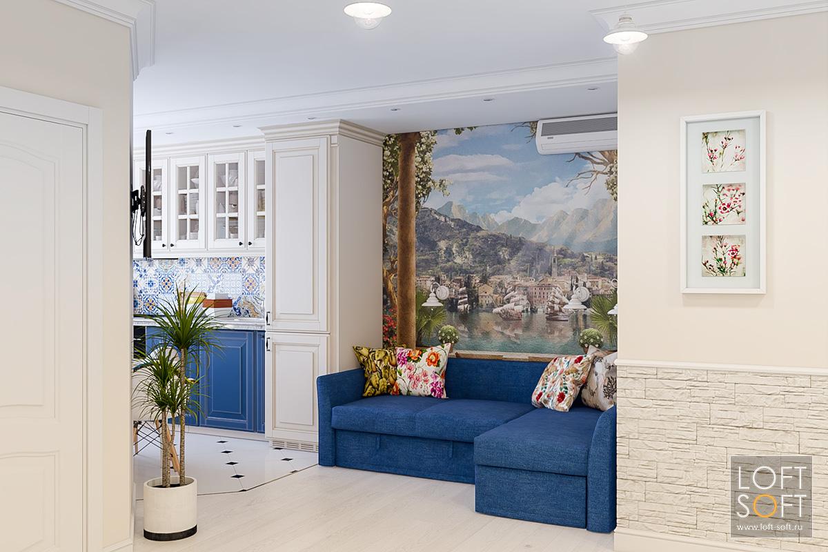 Классическая кухня вквартире. Место для отдыха исиний диван вцвет фасадов.