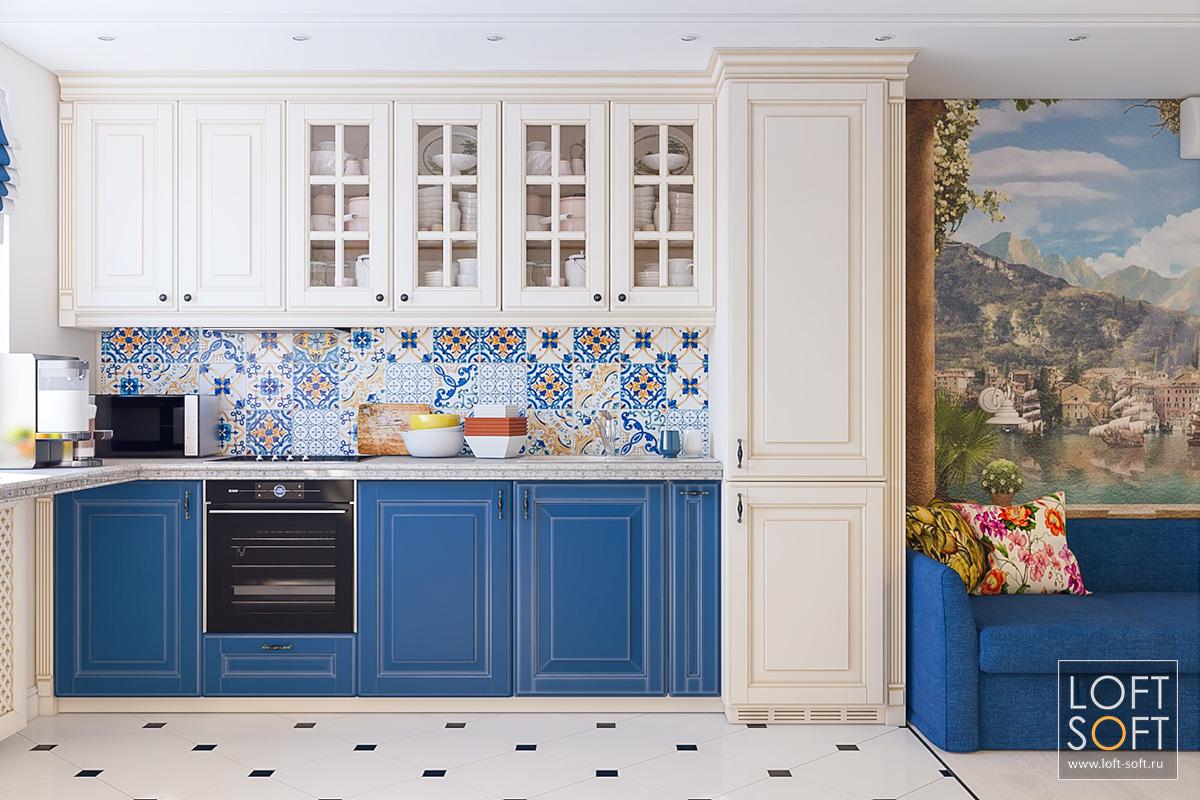 Классическая кухня ссиними фасадами ифартуком патчворк.