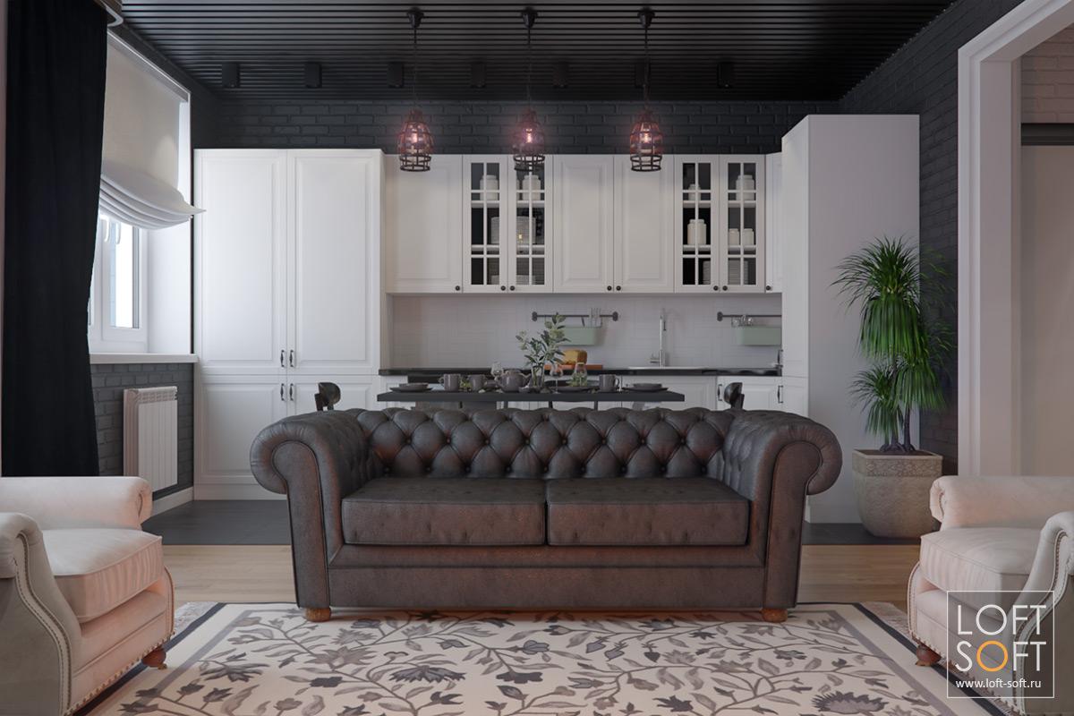 Черно-белая кухня. Черные стены винтерьере.