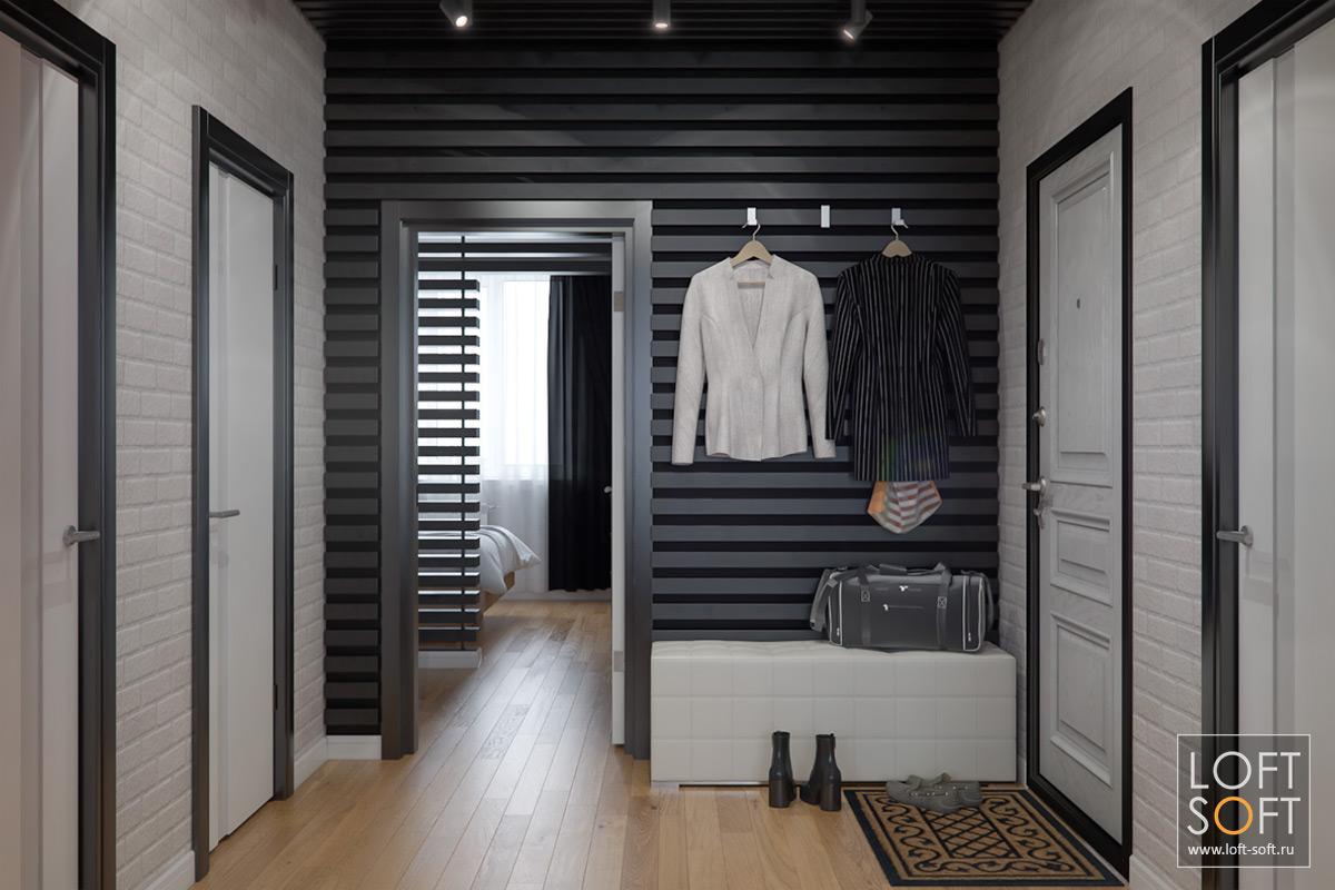 Черно-белая прихожая. Стена из реек.
