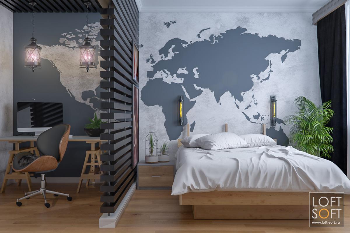 Спальня встиле лофт. Интересное декорирование стены. Перегородка из деревянных реек.