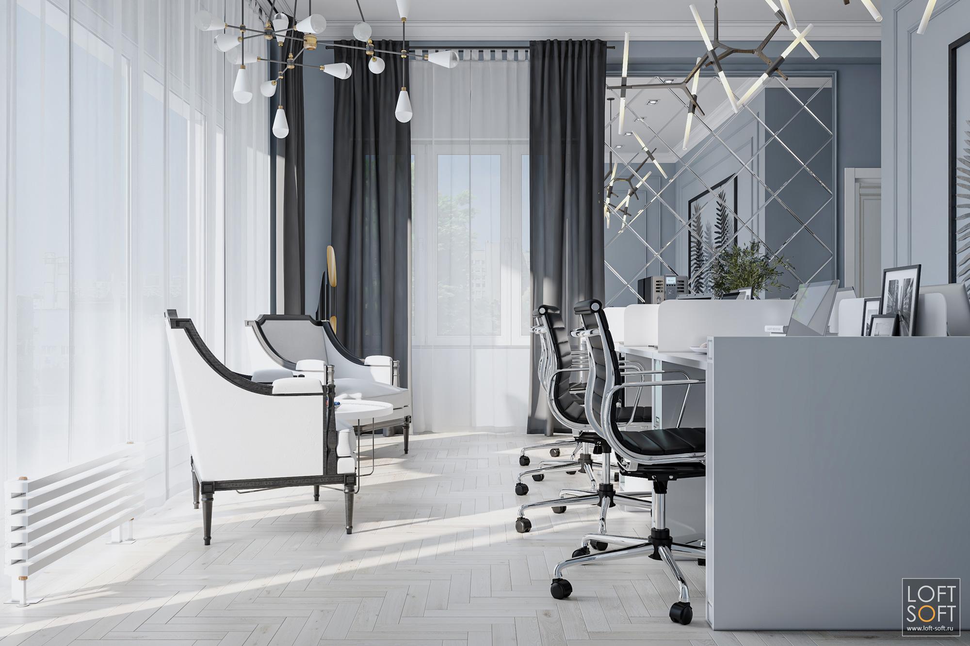 Дизайн интерьера офиса кадрового агентства, офис всером цвете