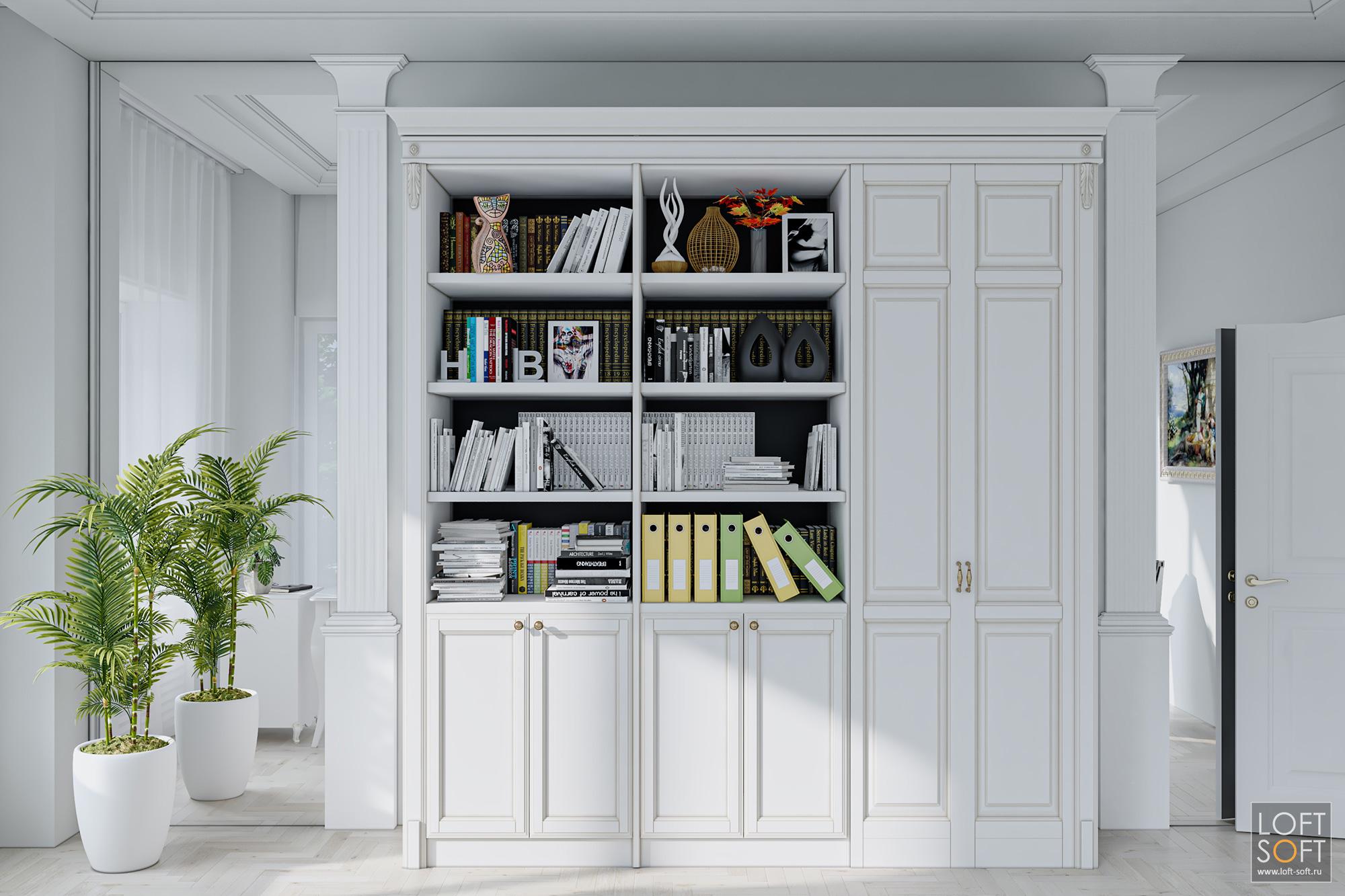 Дизайн офиса всером цвете, классическая мебель винтерьере офиса
