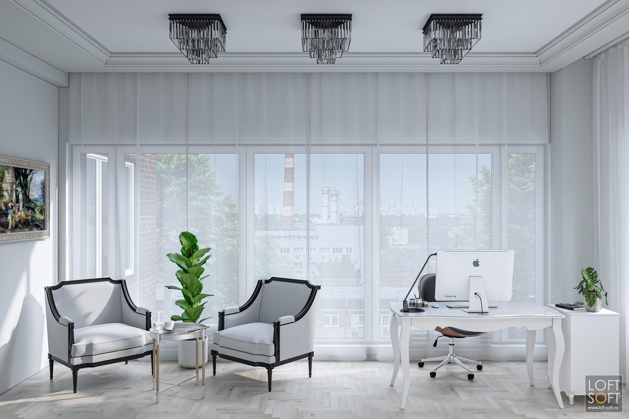 Дизайн интерьера офиса сбольшими окнами