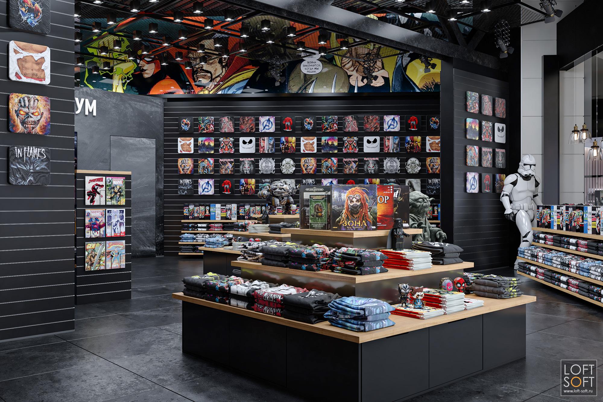 Магазин одежды Легендариум, интерьер вчёрных цветах, экономпанели настенах