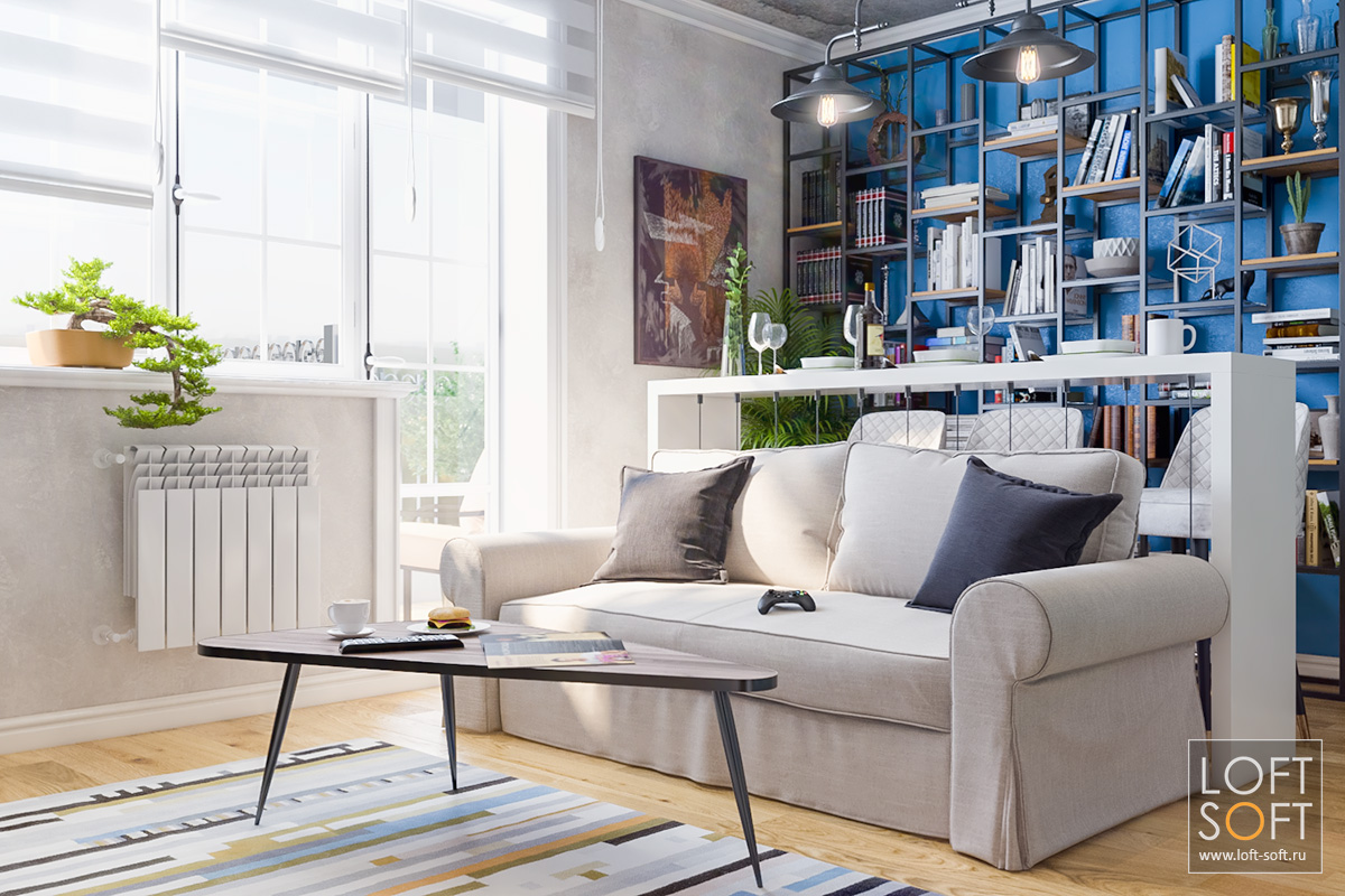 Интерьер квартиры встиле лофт, синяя стена винтерьере