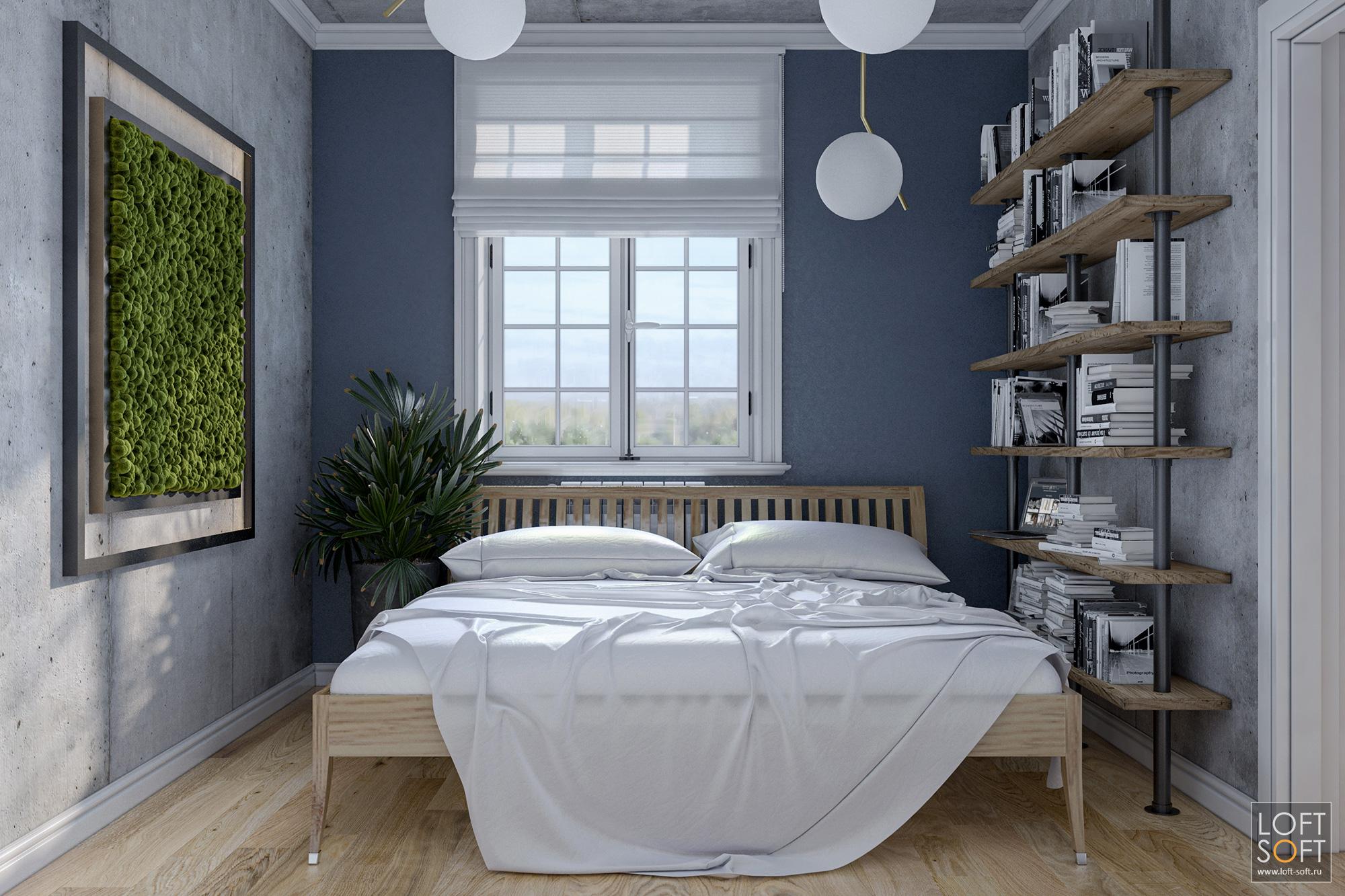 Спальня встиле лофт, синяя стена, бетонные стены