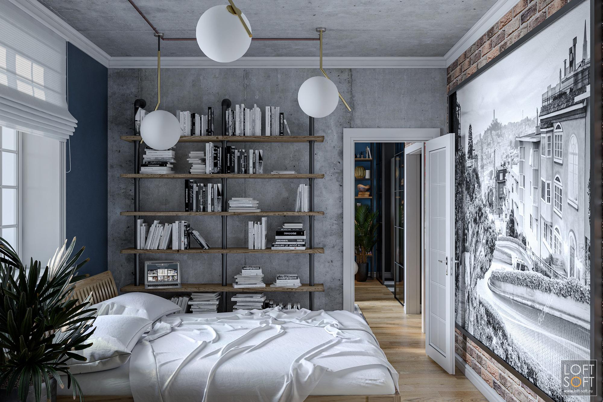 Бетонные стены вспальне, лофт винтерьере