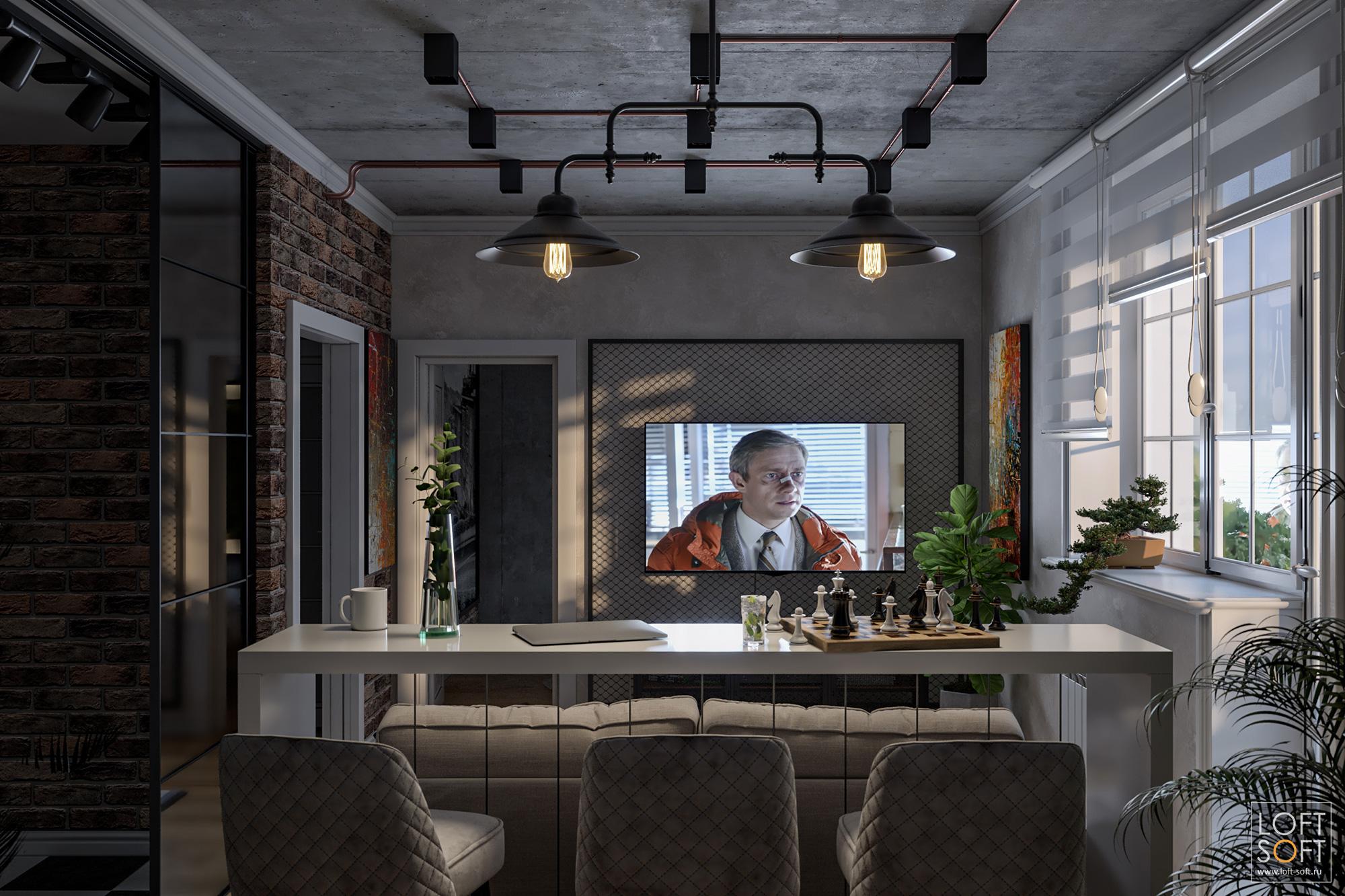 Вечернее освещение винтерьере, гостиная встиле лофт
