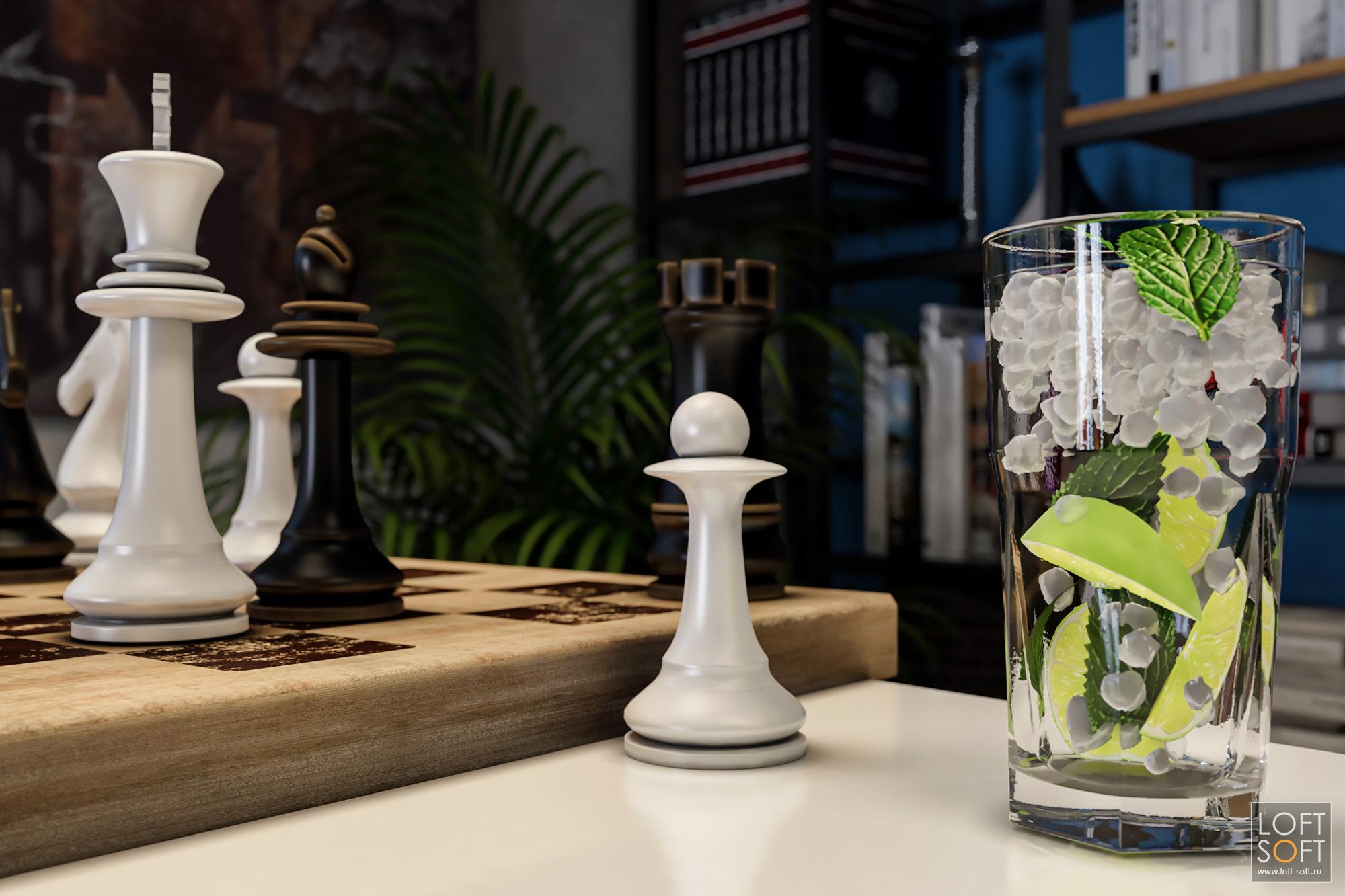 Интерьер гостиной, шахматы имохито