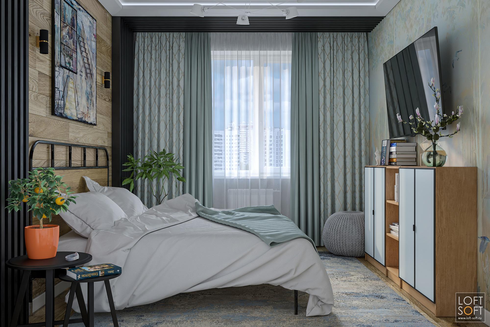 Современная спальня скаплей прованса